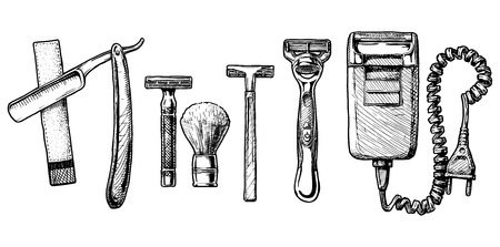 Vector hand drawn sketch of shaving accessories set in ink hand drawn style.  Straight razor, double-edge Safety razor and shaving brush, disposable razor, modern razor, Electric razor. Illustration
