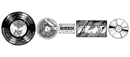 compact cassette: Vector hand drawn sketch of media evolution set in ink hand drawn style. Vinyl record, tape reel, compact tape cassette, VHS and compact disc. isolated on white. Illustration