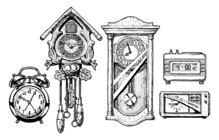 vintage wall: Vector hand drawn sketch of old clocks set in ink hand drawn style. Alarm clock, Cuckoo clock, pendulum clock, digital alarm clock and radio clock.