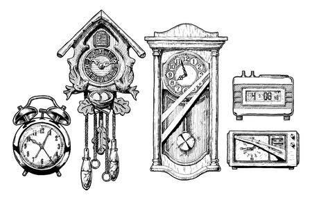 Vector hand drawn sketch of old clocks set in ink hand drawn style. Alarm clock, Cuckoo clock, pendulum clock, digital alarm clock and radio clock.