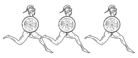 mural: Hoplitodromos. Greece mural painting. Vector illustration of the running greek soldiers.