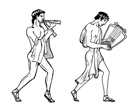 lyre: Vector color illustration of Greek musicians. One Greek musician is playing on aulos another musician on lyre.