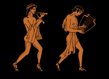 ancient roman: Vector color illustration of Greek musicians. One Greek musician is playing on aulos another musician on lyre.