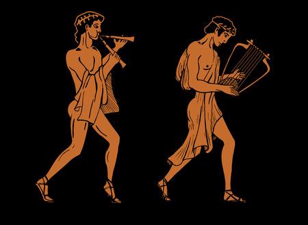 musico: Vector ilustración en color de músicos griegos. Un músico griego está jugando en aulos otro músico en la lira. Vectores