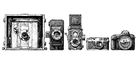 professional equipment: Vector hand drawn sketch of photo cameras evolution set in ink hand drawn style. Inscription PHOTO is made as a separate object. Can be simply removed. view camera, folding camera, TLR, rangefinder camera, SLR. isolated on white.