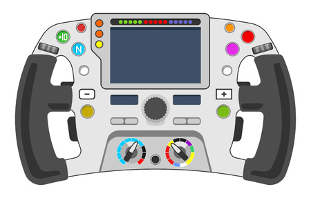 Vector illustration of steering wheel from sport car. F1 wheel concept.