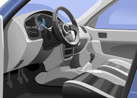Vector illustration d'un intérieur de voiture de sport. Vue de la porte ouverte. seuls gradients simples - pas de filet de dégradé.