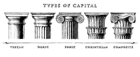 Vector hand drawn illustration set of the five architectural orders engraved. Showing the Tuscan, Doric, Ionic, Corinthian and Composite orders. Vettoriali