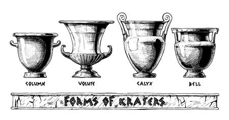 ancient greece: Vectores dibujados a mano dibujo de antiguos jarrones griegos establecidos en el estilo de dibujado a mano de tinta. Formas de cr�teres: krater columna, krater voluta, krater c�liz y krater de la campana. Tipolog�a de las formas de las vasijas de vino griego.
