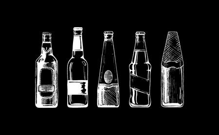 set of beer bottles on black background. Ilustracja