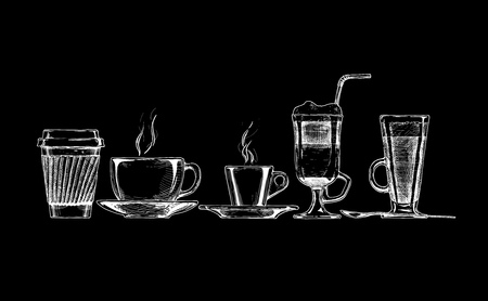 set of coffee cups on black background. Illustration