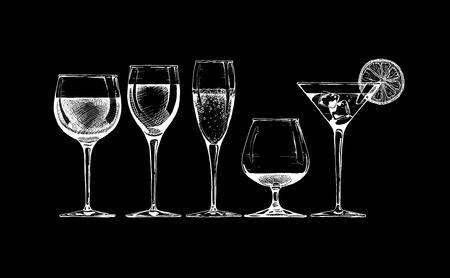champagne flute: set of glasses goblets on black background. Illustration