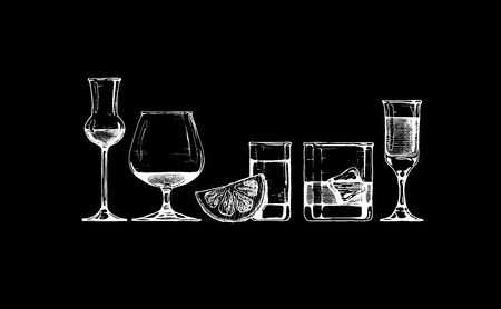 glas: set of glasses goblets in ink  style. isolated on black.