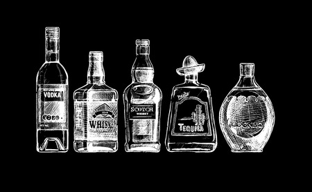 set of bottles of alcohol in ink  style. isolated on black. Distilled beverage