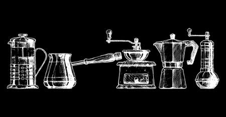 Satz von Kaffee-Technik. Französisch Presse, Cezve, altmodische manuelle Pfeffermühle Kaffeemühle, Moka, türkische manuelle Kaffee und Pfeffermühlen.