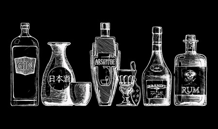 set of bottles of alcohol in ink  style. isolated on black. Distilled beverage. Gin, sake, absinthe, brandy, rum.