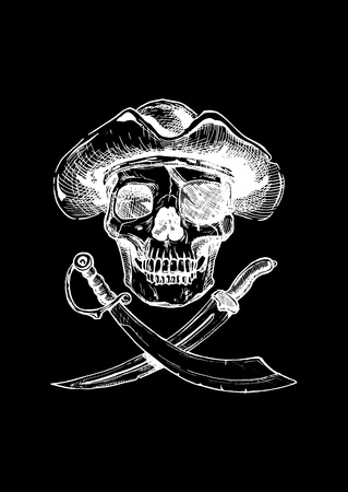 saber tooth: black and white illustration of  pirate skull with  two cross swords in ink  style. isolated on black.