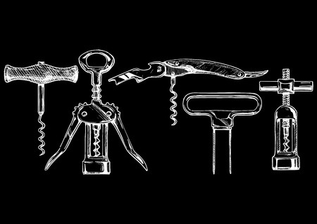 turn screw: sketch of corkscrew set in ink  style. types of corkscrews: basic corkscrew,  wing corkscrew, sommelier knife, butlers friend, continuous turning corkscrew. isolated on black.