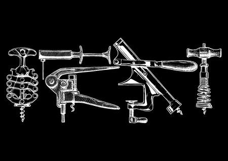bottle screw: sketch of corkscrew set in inkstyle. types of corkscrews: zig-zag, vacuum corkscrew, lever-style corkscrew, mounted corkscrew, spring corkscrew. isolated on black.