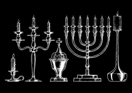 sketch of candlesticks set in ink style. Candlestick, candelabra, sanctuary lamp, menorah, modern candlestick