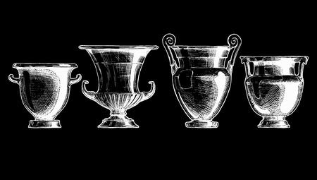 Skizze der antiken griechischen in Tinte Stil gesetzt Vasen. Formen von Kratern: Spalte Kraters, Volutenkrater, Kelch krater und Glockenkrater. Typologie der griechischen Weingefäßformen.