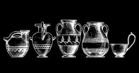 antiquities: sketch of ancient greek vases set in ink  style.  Types of vases: Askos (pottery vessel), hydria, amphora, pelike, kyathos. Typology of Greek vase shapes. Illustration