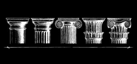 arte greca: illustrazione Set di cinque ordini architettonici incisi. Mostrando gli ordini toscano, dorico, ionico, corinzio e composito. Vettoriali