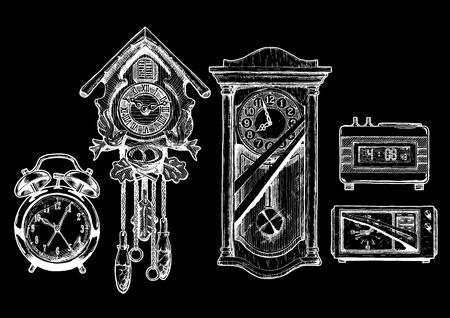 cuckoo clock: sketch of old clocks set in ink style. Alarm clock, Cuckoo clock, pendulum clock, digital alarm clock and radio clock. isolated on black.
