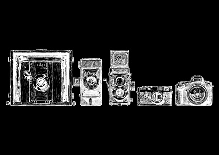 folding camera: sketch of photo cameras evolution set in ink style. Inscription PHOTO is made as a separate object. Can be simply removed. view camera, folding camera, TLR, rangefinder camera, SLR. isolated on black.