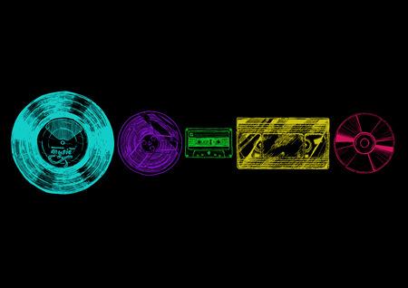 evolucion: esbozo de la evolución de papel configurado con el estilo de tinta. disco de vinilo, carrete de cinta, cinta de casete compacto, disco compacto.