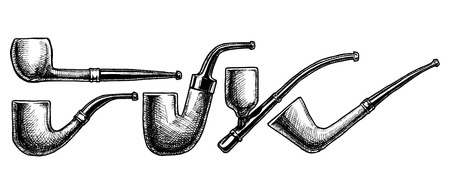 ink Tobacco Pipes. illustration. vintage pipe. Engraving style. Pipe shapes:  bent billiard, hungarian (Oom Paul), cavalier, dublin. Illustration