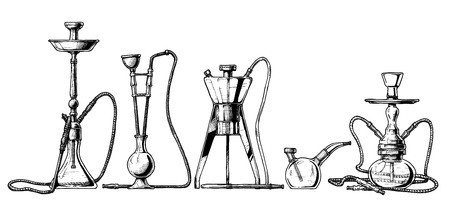 sketch of hookah set in ink style.