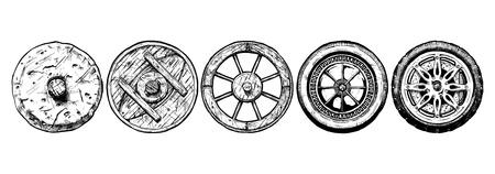 illustratie van het wiel evolutie set. Stel in inkt stijl. stenen wiel, antieke houten wiel, spaakwiel, stalen wiel, modern lichtmetalen velgen Stock Illustratie