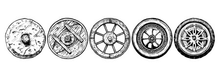illustration of the wheel evolution set. Set in ink style. stone wheel, antique wooden wheel, spoked wheel, steel wheel, modern alloy wheel Ilustração