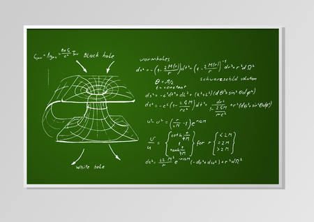 wormhole: formulas and graph on a green chalkboard seamless background. Schwarzschild metric, Wormhole, black hole