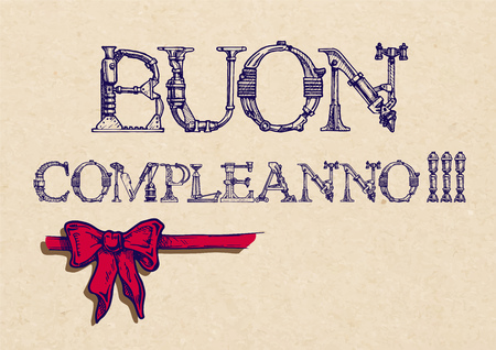 buon: buon compleanno. happy birthday in Italian. ribbon bow Illustration