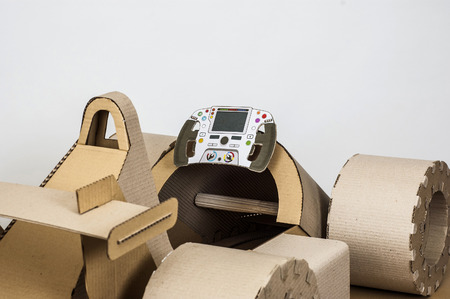 cockpit: close-up photo of  cardboard racing car interior