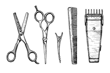 Vector hand drawn set of hairdressers professional tools. Thinning shears, hair-cutting shears, barrette alligator clips, comb, electric hair clipper Illustration
