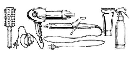 Vector hand drawn set di strumenti professionali parrucchieri. spazzola rotonda, asciugacapelli, capelli tong, gel per capelli, spray per capelli. Vettoriali