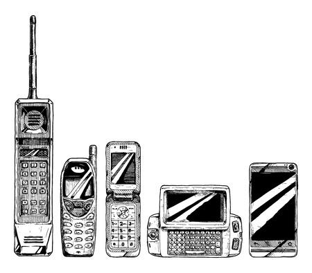 establece la evolución del teléfono móvil. Ilustración de vector