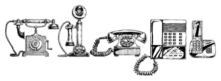 answering phone: illustration of the phone evolution set. Illustration