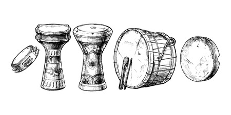 hand drawn set of Middle Eastern Percussion Instruments.