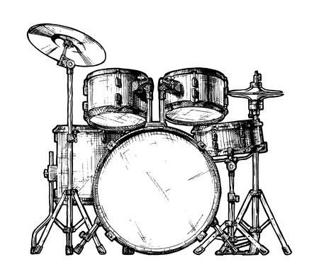 ドラムキットの描かれたイラストを手します。白で隔離