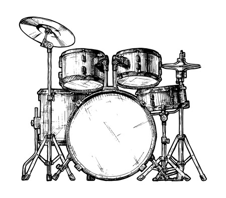 hand drawn illustration of drum kit. isolated on white