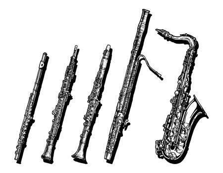 Hand gezeichnet Satz von Holzmusikinstrumente. Flöte, Oboe, Klarinette, Fagott und Saxophon.