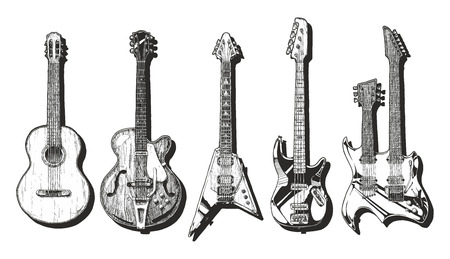 acoustic: hand drawn set of guitars. Acoustic guitar (classical guitar ), semi-acoustic guitar (archtop guitar),  electric guitar, bass guitar and double neck guitar.