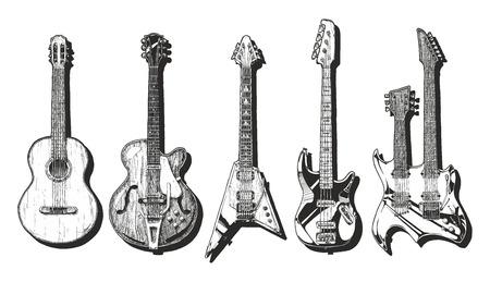 Hand getrokken set van gitaren. Akoestische gitaar (klassieke gitaar), semi-akoestische gitaar (archtop gitaar), elektrische gitaar, basgitaar en dubbele hals gitaar.