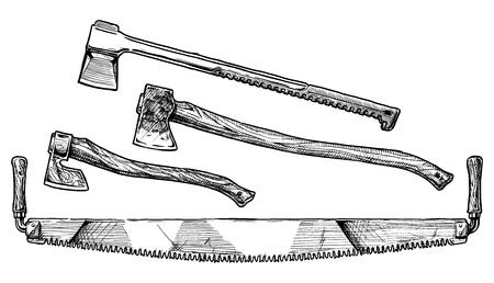 herramientas de trabajo: dibujado a mano ilustración de mango de sierra, mutilar la división y el hacha de la tala. herramienta de leñador.
