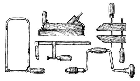 herramientas de trabajo: dibujado a mano ilustración de la herramienta para trabajar la madera. Fretsaw, avión, abrazadera de la barra, y handscrew taladro de mano