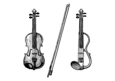 Bowed string instruments. Vector hand drawn illustration of violin and fiddle-bow. Ilustrace
